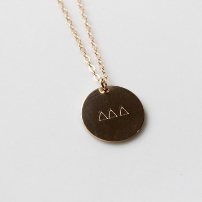 DELTA DELTA DELTA Oversized Charm Necklace /Delta Delta Delta Necklace / Layering Necklace / Sorority Jewelry - 14k Gold Filled