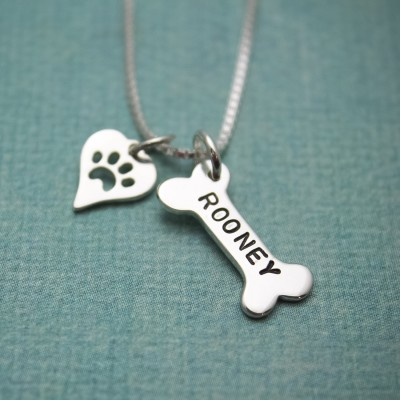 Dog Bone & Heart Necklace Sterling Silver Hand Stamped Personalized Necklace Dog Gifts for Humans