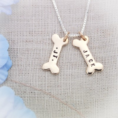 Dog Bones Bronze or Sterling Silver Hand Stamped Personalized Necklace-