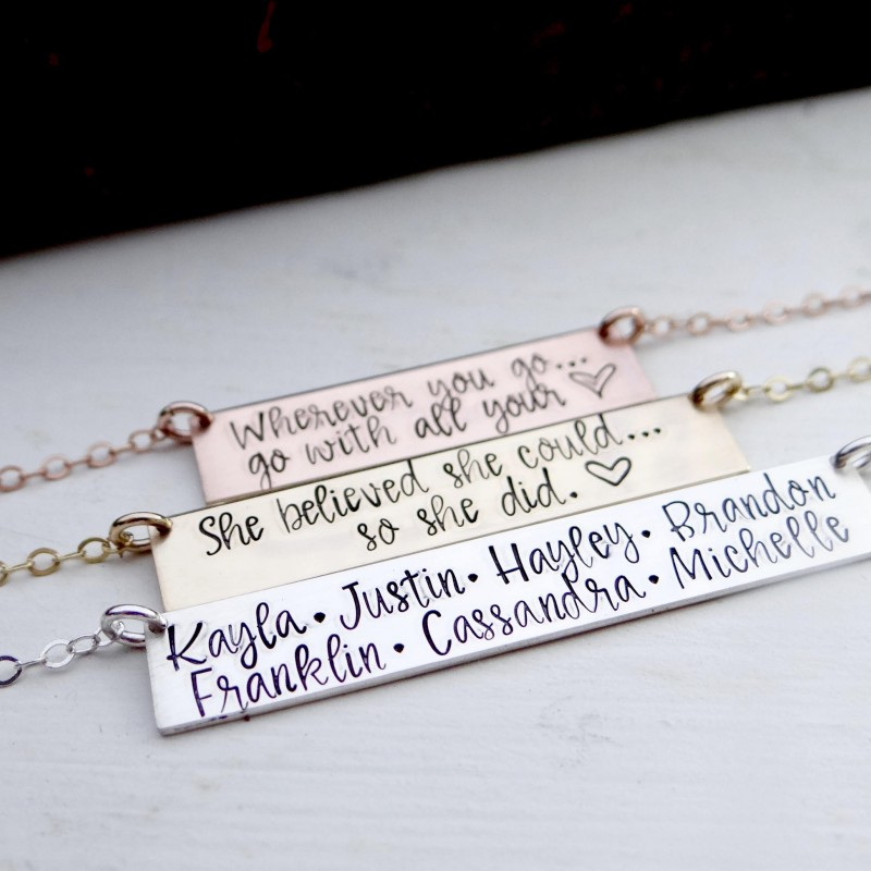 46bd433276d0fb Double Line Personalized Bar Necklace for Lots of Names. Calligraphy Hand  Stamped Custom Name Bar Necklace.