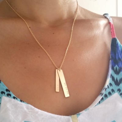 Double Nameplate Necklace - Gold Vertical Bar Necklace - Name and Date Necklace - Custom Engraved - Mother's Day Jewelry