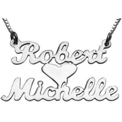 Dual Name with Heart Necklace in Silver