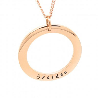 Elegant minimalist plain circle in Rose Gold with Personalised Text and rose gold necklace, Gift box Included, Hand Stamped hypoallergenic