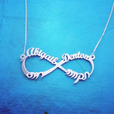 English Hebrew Names Infinity Necklace  Infinity Name Necklace With nameplate Hebrew Name Necklace Jewish wedding gift 2 Languages Necklace
