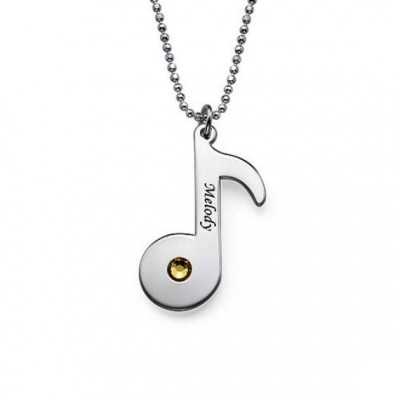 Engraved Music Note Necklace with Birthstone in Sterling Silver 0.925