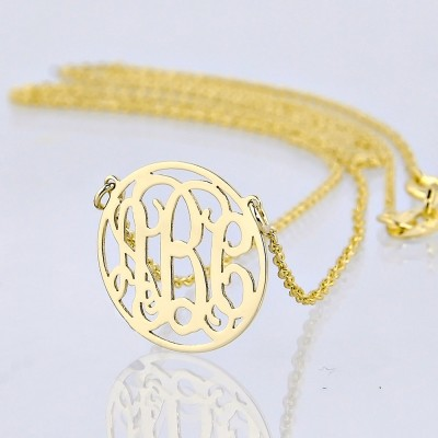 Extra Small Solid Gold 3 Initials Tiny Circle Monogram Necklace 1/2 Inch Diameter GM39C