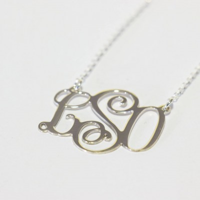 Extra large monogram necklace large monogram necklace silver monogrammed necklace vine monogram necklace sterling silver