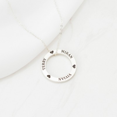 Family Circle Necklace - Custom Family Necklace - Personalized Minimalist Necklace - Custom Name Necklace - VALENTINES GIFTS
