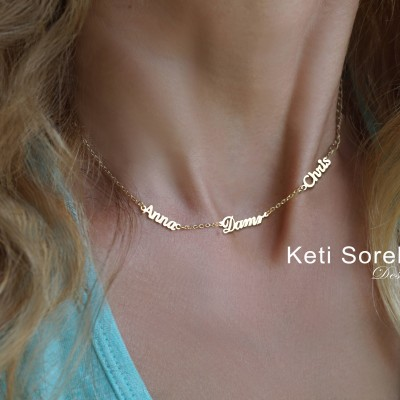 Family Names Necklace - Customize It with Names: Kids Names, Couple's Names, Family Names - Yellow Gold, Rose Gold and Sterling Silver