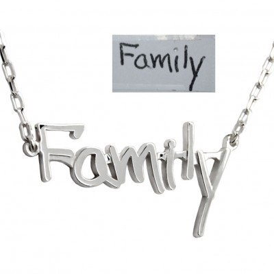 Family Necklace, Custom Word Necklace, Personalized Handwritten Necklace with Block Letters, Customize Necklace, Memorial Gift For Wife mom