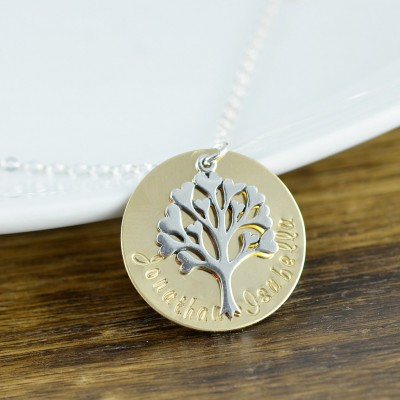 Family Tree Necklace - Mother's Necklace - Tree of Life Necklace - Personalized Necklace, Kids Name Necklace, Mothers Day Gift, Gift for Her