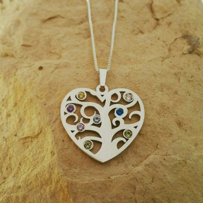 Family Tree Necklace Heart Pendant Silver Heart Pendant Silver Necklace Family Tree Necklace For Mom Necklace Personalized Gift For Mom