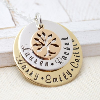 Family Tree Necklace for Mom, Personalized Family Tree Necklace for Grandma, Nana Necklace, Family Tree, Gift For Grandma, Nana Jewelry Mom