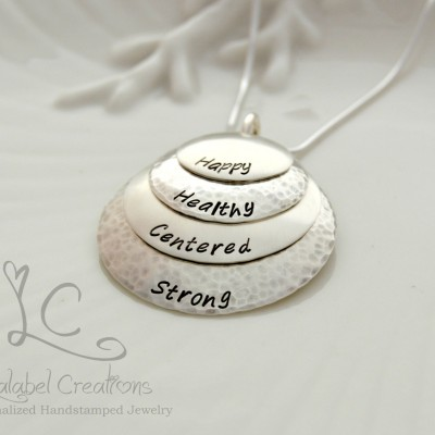 Four Layers Disc Necklace, Mommy Necklace, Custom Stamped Name Necklace, Mothers Day Necklace, Personalized Metal Stamped Necklace with Name