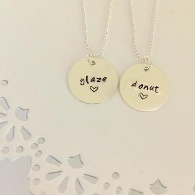 Glaze and Donut Necklace | Best Friend Necklace Set | Silver Bestie Necklace | Best Friend Jewelry | BFF Quote | Friendship Necklace