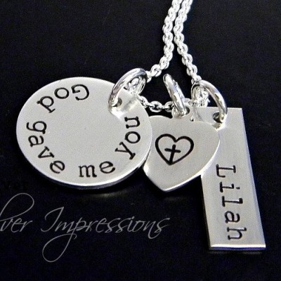 God gave me you / Personalized Hand Stamped Necklace / Mommy Necklace