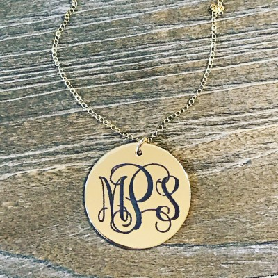 Gold Monogram Necklace | Engraved Monogram Necklace | Custom Monogram | Bridesmaid Gift | Initial Necklace | Girlfriend Gift | Gift for Her