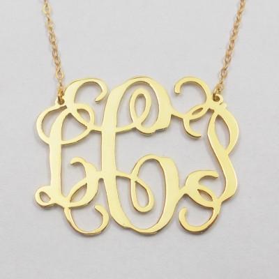 Gold Monogram Necklace Extra Large,2 inch Monogram Necklace, Monogram Initial Charm,Vine Script Necklace,Nameplate Initial Necklace