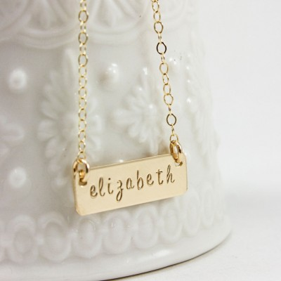 Gold filled Bar Name Necklace - Hand Stamped Gold filled Bar Necklace - Gold filled Bar - Celebrity Inspired - Layer Necklace - Gift for her