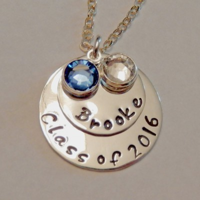 """Graduation Necklace Hand Stamped ~ """"Class of 2017"""" Necklace in Sterling Silver with Swarovski Crystals ~Graduation Gift ~ Present for Grad"""