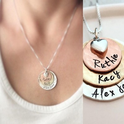 Hammered Disk Necklace - Three Layered Loves - Mothers Necklace - Personalized Gift for Grandma - Custom Name Necklace - Grandma Necklace