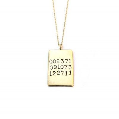 Hand Stamped 25mm Rectangle Dates Necklace, Wedding Gift, Anniversary Gift, Hand Stamped Necklace, Customized Necklace