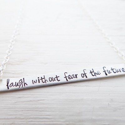 Hand Stamped Bar Necklace. Thin Extra Large Gold Long Bar with Laugh without fear of the future. Proverbs 31. Christian, Scripture Jewelry.