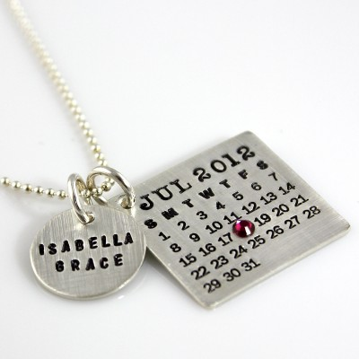 Hand Stamped Mark Your Calendar Necklace - personalized sterling silver necklace with large name charm and crystal for date