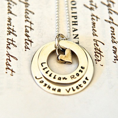 Hand Stamped Necklace, Personalized Jewellery, Personalized For Mom, Layered Washers, Childrens Names, Sterling Silver, Hand Stamped Washers