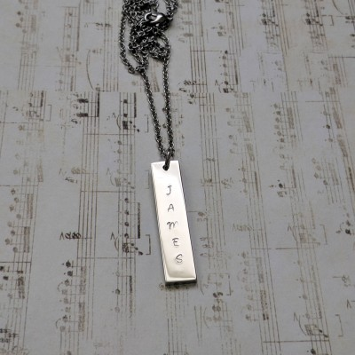 Hand stamped personalized rectangle bar necklace