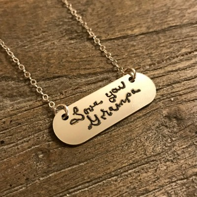 Handwriting Necklace | Handwritten Necklace | Silver Engraved Necklace | Nameplate Necklace | Girlfriend Gift | Signature Necklace