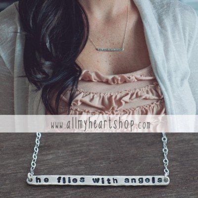He Flies With Angels Remembrance Necklace - Memory Jewelry