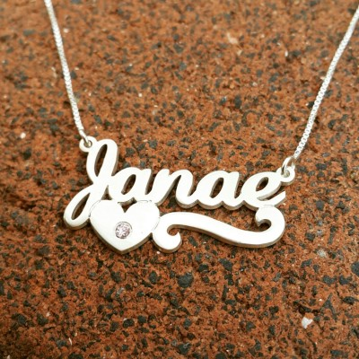 Heart Name Necklace / birthstone name necklace /ruby sapphire emerald personalized /Janae  name necklace /ORDER ANY NAME / graduation gift