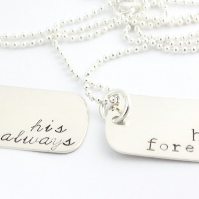 Hers Forever His For Always Dog Tag Necklace Combo - Personalized Sterling Silver Handstamped Necklaces - Father's Day Gift