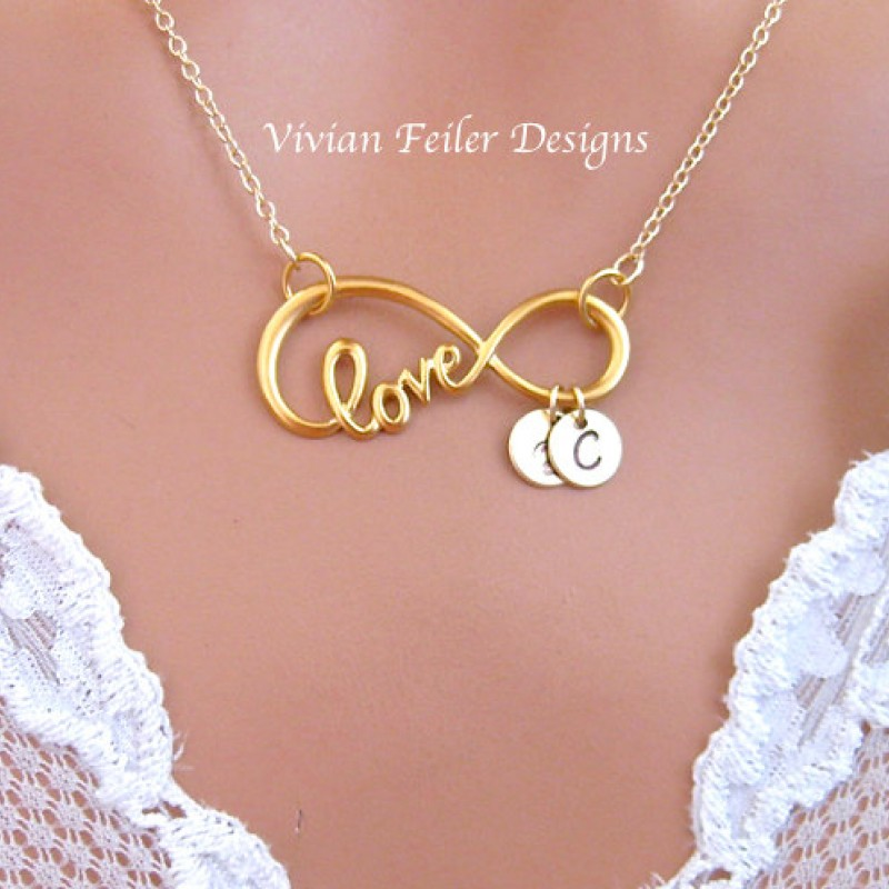 4817e8905 Infinity Necklace LOVE Script Large 24K GOLD Initial Personalized Jewelry  Valentine Day Gift Husband Wife Mother's ...