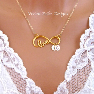 Infinity Necklace LOVE Script Large 24K GOLD Initial Personalized Jewelry Valentine Day Gift Husband Wife Mother's Day C