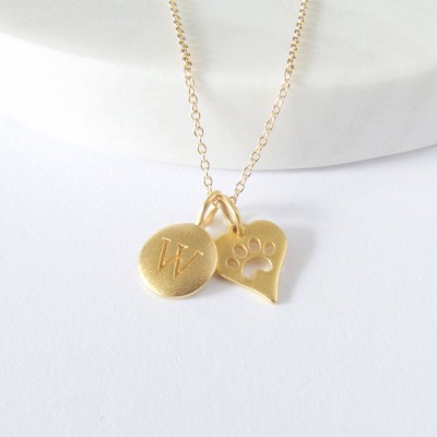 Initial & Paw Print Charm Necklace - Personalized Necklace - Pet Necklace - Gold Necklace