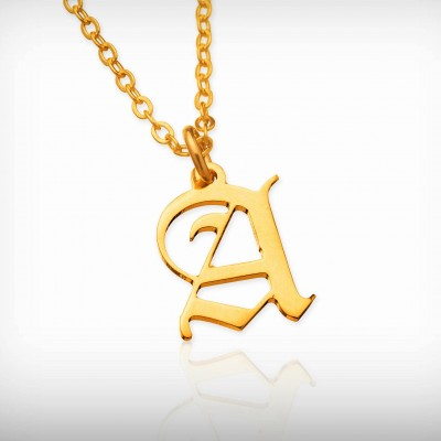 Initial Gothic necklace personalized necklace Old English font necklace gold custom necklace  Gothic necklaces for women