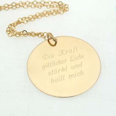 Inspirational Quote Jewelry - Personalized Custom Message Necklace - Inspirational Gift - Engraved Gold Filled Pendant - Unique Gift for her