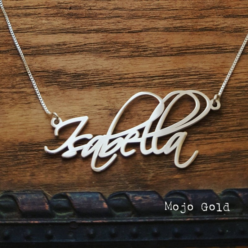 Isabella Large Name Necklace Silver Name necklaces delicate gift for herspecial order