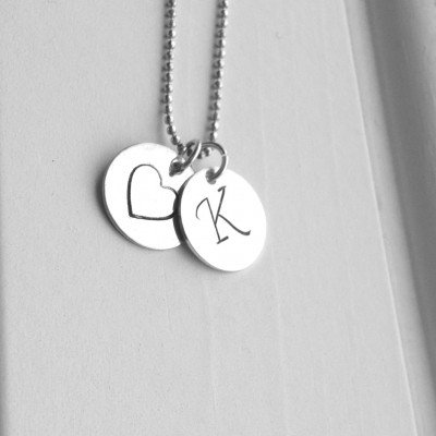 K Heart Necklace, Letter K Necklace, Initial Necklace, Heart Necklace, Monogram Necklace, Sterling Silver Charm Necklace, Letter K Pendant