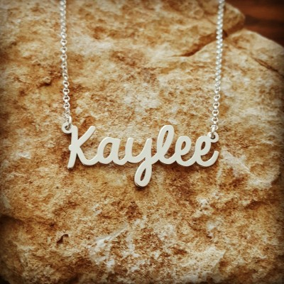 Kaylee Silver Name Necklace/ unique Gift/ Personalized Custom made nameplate/ Sterling Silver Name Necklace - Custom Name Necklace