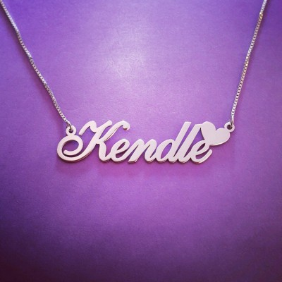 Kendle name necklace / Heart style name necklace / Heart Pendant and Chain /ORDER ANY NAME / Personalized Nameplate / Love Necklace