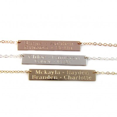 Kids Names Gold Bar Necklace, Engraved Bar Necklace, Multi Name Bar Necklace, in14KT Gold Filled, Rose Gold Filled or Sterling Silver