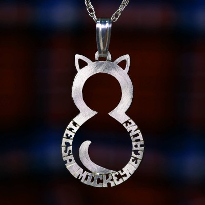 Kitty cat silver necklace, name necklace from gold.