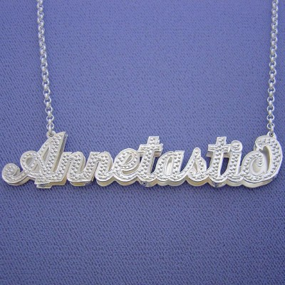 Large Size Silver Personalized 3D Double Plate Name Pendant Necklace SD50