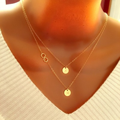 Layered Infinity and Initials Necklace, Personalized engraved necklace, Personalized Discs, Personalized Gift, Gift for her mom sister wife