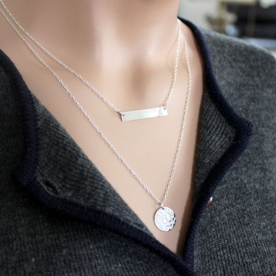 Layered Necklaces /  Silver Bar Necklace, Silver hammered disc Necklace, Personalized Necklace,Personalized Jewelry, Christmas Holiday Gift