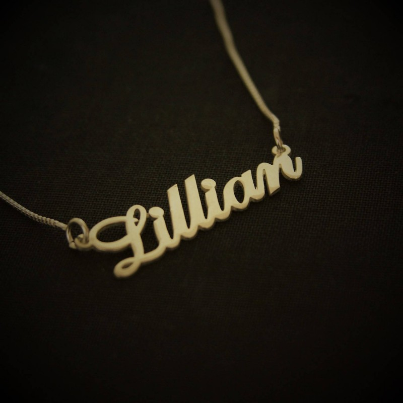 Lillian style Name Necklace / Gold Plated / Art font Name Necklace / Custom  handwriting nameplate / Christmas gift