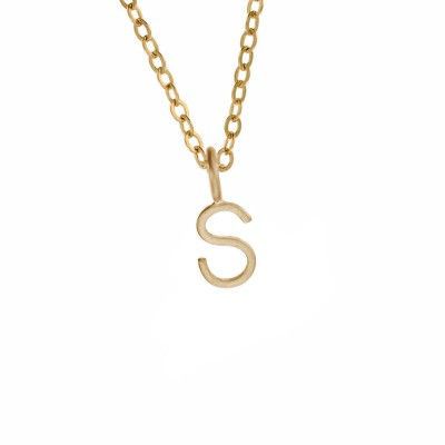 Little Gold Letter Charm Necklace - Handformed Wire Letter or Number - Handcrafted Artisan Jewelry by MetalPressions on Etsy